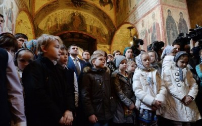 Праздник благовещения в Кремле с участием патриарха Кирилла